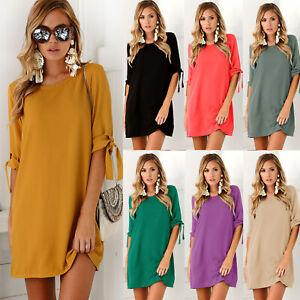 3206aaf7194720 Das Bild wird geladen Ubergroesse-Damen-Vintage-Minikleid-Sommer -Strand-Tunika-Hemdkleid-