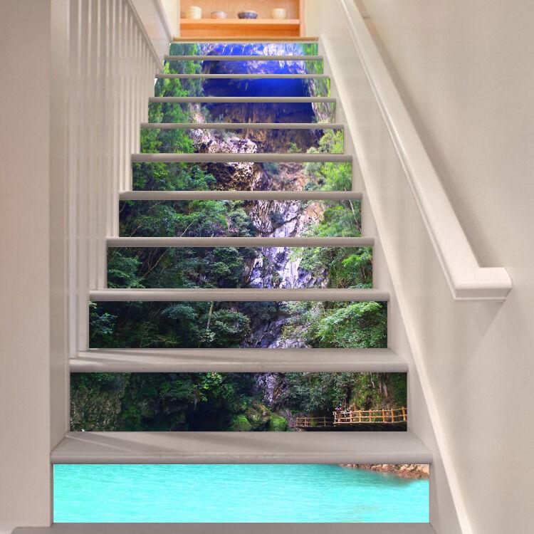 3D Lake water 3 Stair Risers Decoration Photo Mural Vinyl Decal Wallpaper UK