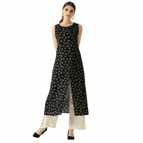 Women Black Polka Dots A Line Cotton Kurti Sleeveless Kurta With Palazzo Set