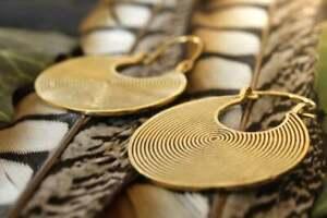 Large Brass Gold Plated Mandala Lotus Boho Antique Tribal Earrings Gypsy Hoop