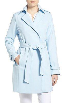 T Tahari Monica Minimalist Polyester Baby Crepe Trench Coat S, M  New $240