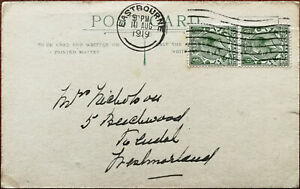 Postcard with 2 King George V 1/2 Penny Stamps Posted 10th August 1919