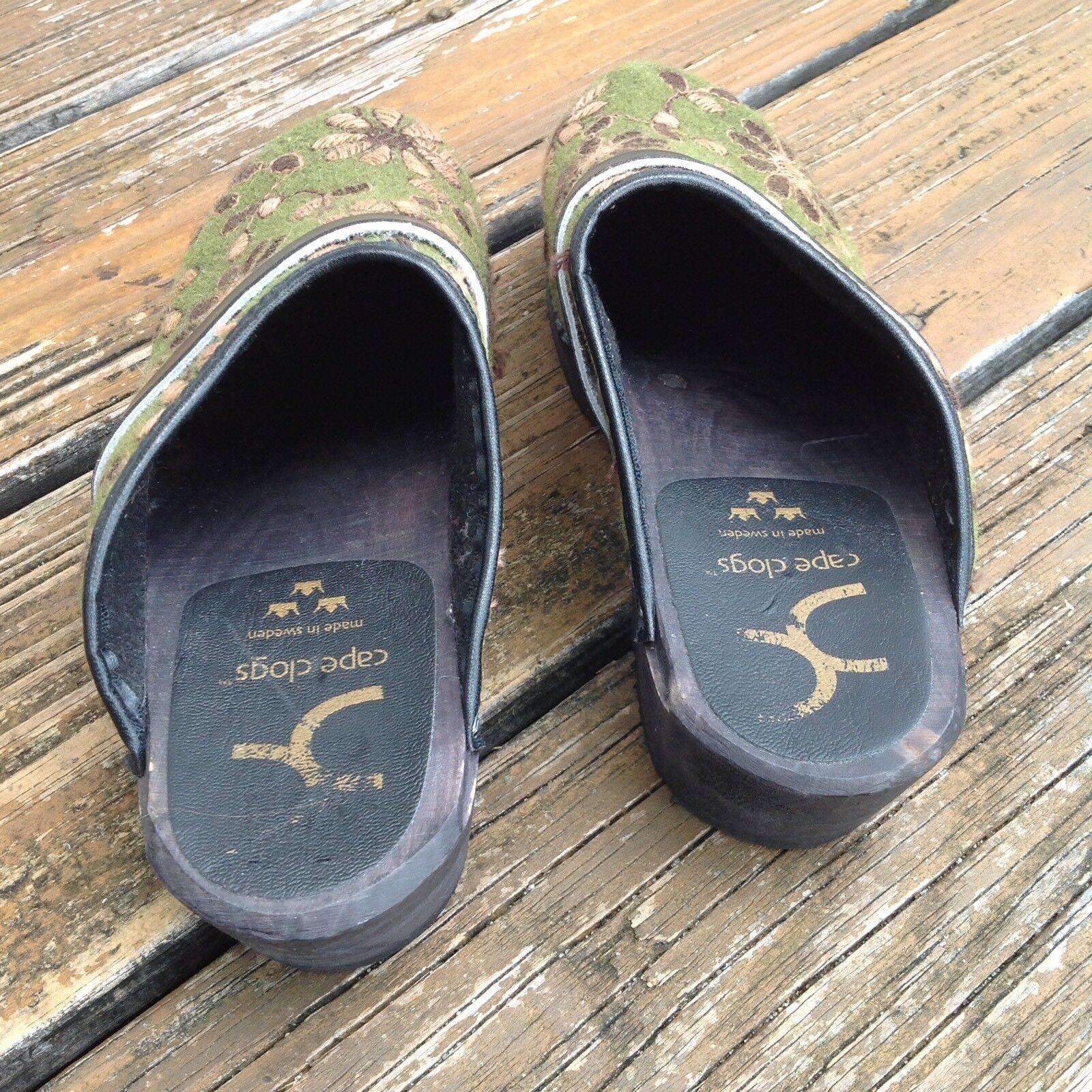 Cape Clogs Wool Grün Grün Wool Yellow Floral Slip On Schuhes Damenschuhe 8.5 9 EUR 39 Nurse 303ce0