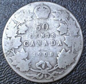 Old Canadian Coin 1908 50 Cents 800 Silver Edward Vii 1st Year Struck Rcm Ebay