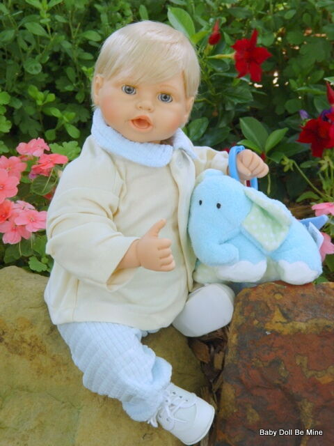 OOAK Elephant Walk  20   Toddler Boy Doll With Open Close Eyes  with Plush Toy