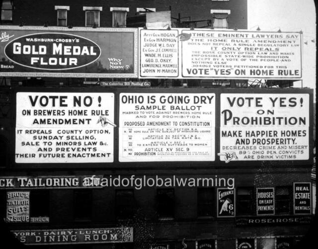 Photo. 1910s. Ohio. Conflicting Prohibition Billboards