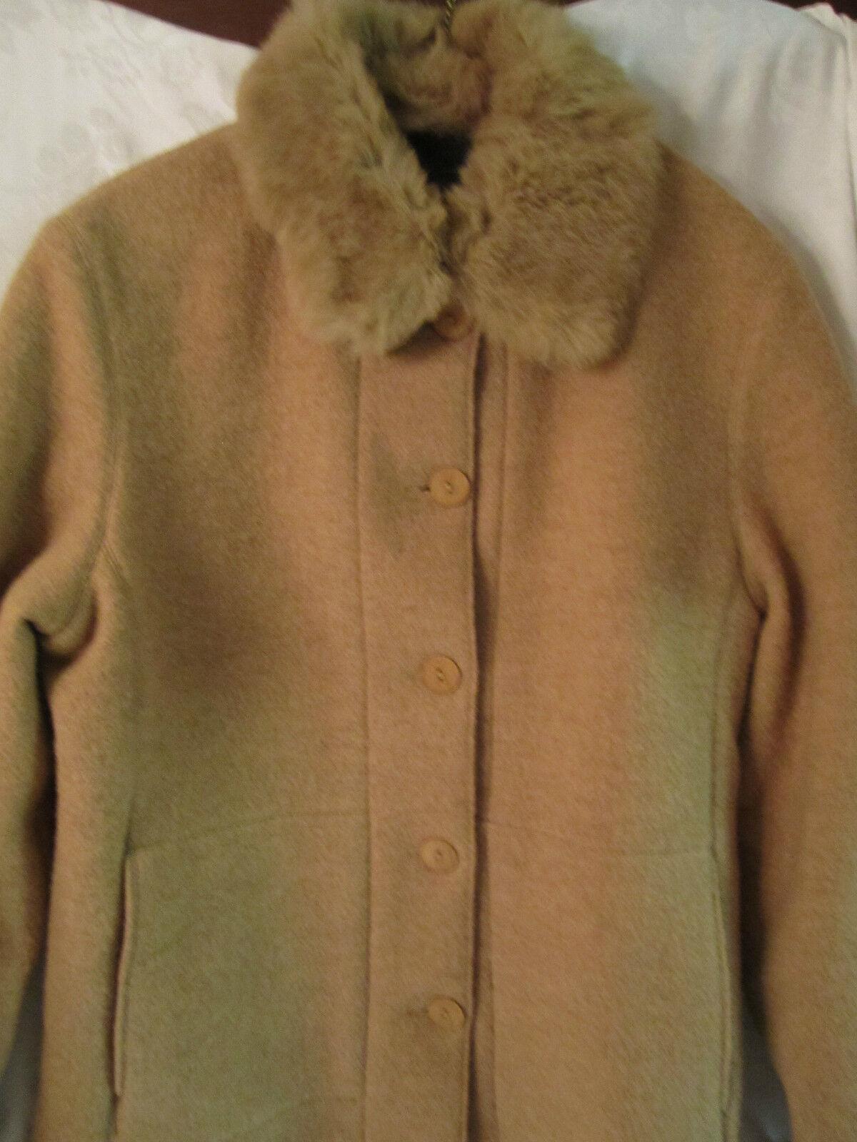 Hilary Radley  Piel Recortado Camel Chaqueta de lana con forro extraíble Talla 4  el mejor servicio post-venta