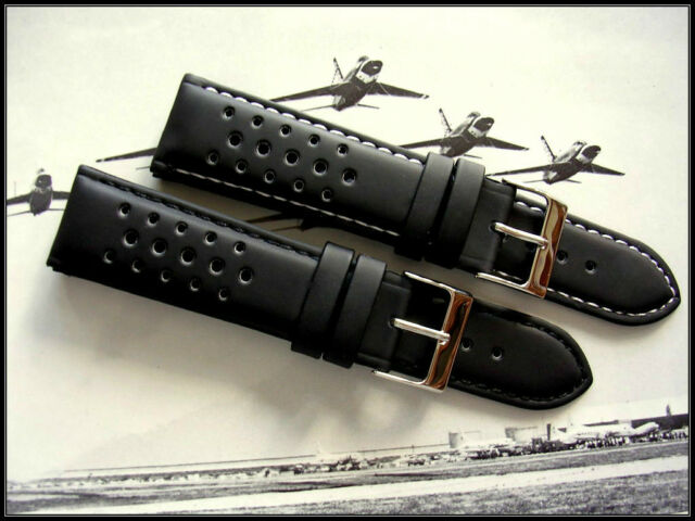 20mm Black GT Rally Trop Silicon water-resistant watch strap IW SUISSE 18 19 22