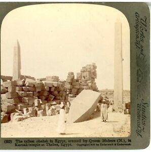 EGYPT, Tallest Obelisk in Egypt, Erected by Queen Makere, Karnak--Underwood #60