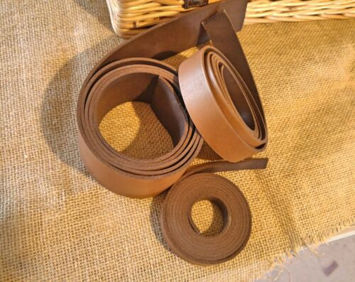 "Two Sided 2.6mm to 3mm 50/"" long belt making Any width Tan Leather Strap"