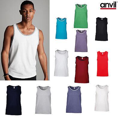 GroßZüGig Anvil Adult Fashion Basic Tank 986 - Men Plain Cotton Two Sleeveless Toned Vest