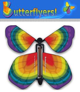 Pack of 5 Tye Dye Rainbow Wind Up Magic Flying Butterfly