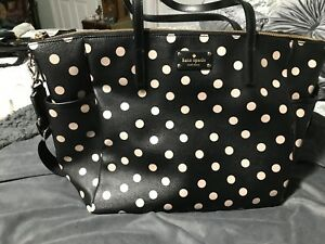 Details About Kate Spade S Street Adaira Black Polka Dot Baby Diaper Bag Tote