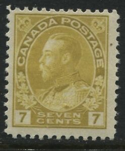 Canada-KGV-1912-7-cents-yellow-ocher-Admiral-unmounted-mint-NH