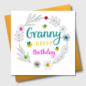 Greetings cards granny pompom embellished grandmother birthday image is loading greetings cards granny pompom embellished grandmother birthday card m4hsunfo