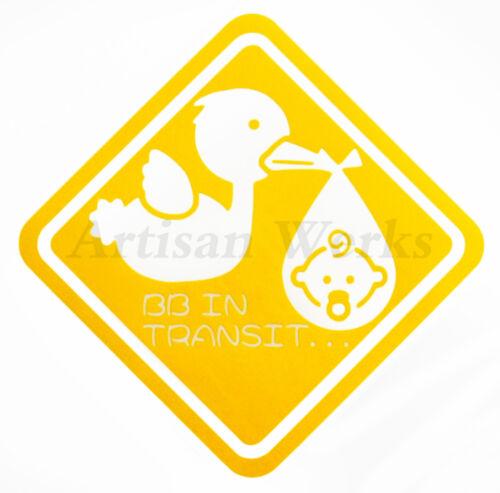 NEW* BB IN TRANSIT Decal Sticker Cars Windows JDM Baby on Board Kids Inside