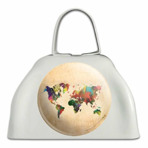Colorful Rainbow Map of the World Earth Globe White Cowbell Cow Bell Instrument