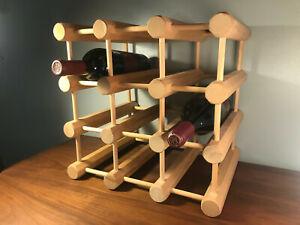 Mid Century Modern Danish Style Wood Dowel Wine Rack Retro Vintage Ebay