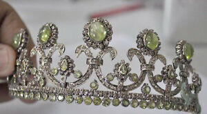 ANTIQUE-ROSE-CUT-DIAMOND-10-30ct-ENGAGEMENT-WEDDING-PERIDOT-ART-DECO-TIARA-CROWN
