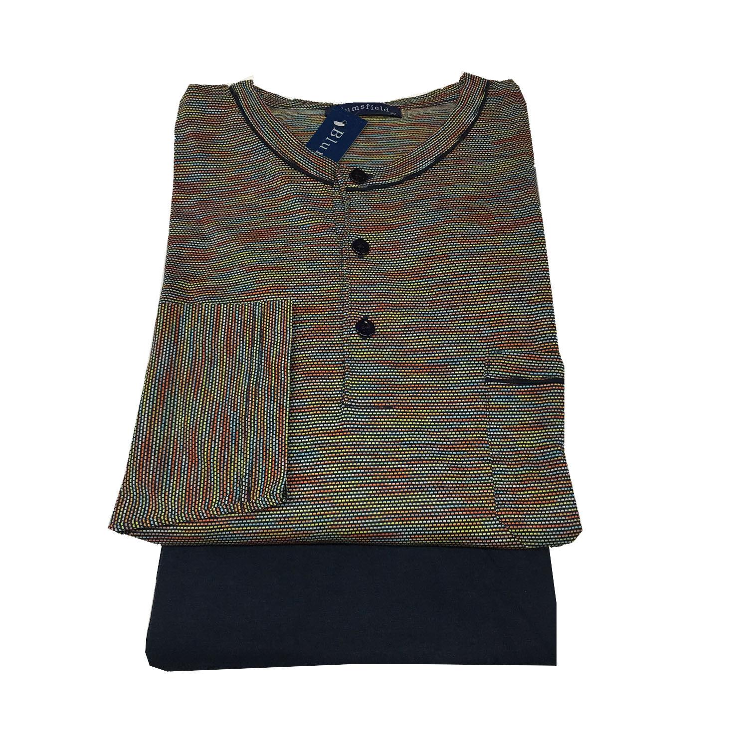 azulmsfield Pijama de Hombre Largo  MultiColor + Jadear Azul 100% Algodón  en linea
