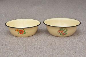 2x-old-enamelled-enamel-washing-bowl-shabby-bath-chic-28-30-cm-FREE-POSTAGE