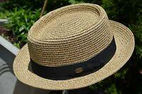 Men's Straw Porkpie Fedora Upturned Brim Straw Panama Dress Derby Summer Hat Cap