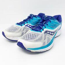 Saucony Women's Ride 10 Running Shoe White Blue 7.5 Wide US