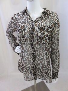 0ed0f1bd0f8c66 EQUIPMENT FEMME Leopard Print 100% Silk Long Sleeve Sheer Blouse ...