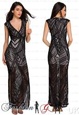 Women Evening Dress Maxi Ball Gown Prom Black Party Formal Celeb Lace Size 8 10-