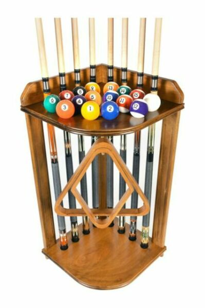 iqgamesroom 2 piece Oak wood wall mount cue rack to hold 8 cues