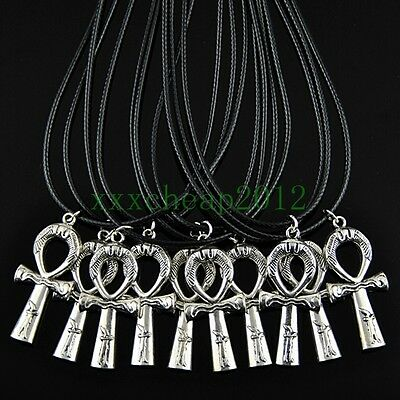 10pcs cool Alloy Ancient Egyptian Ankh Pendant necklace XL365