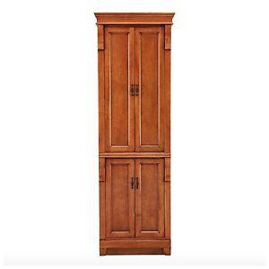 wooden tall slim linen towel bathroom cabinet storage organizer tower