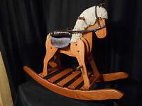 Wooden Medium Rocking Horse Hobby Horse  Solid Oak Kids Toy Harvest Stain Amish