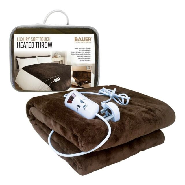 Bauer Brown Luxury Soft Heated Throw Blanket With Timer 40 Heat Awesome Heating Blanket Throw