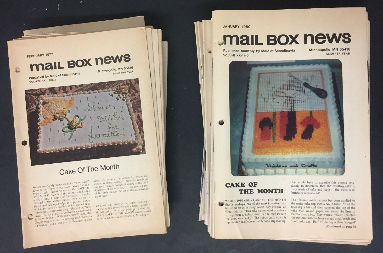 Lot of 80 Vtg Maid of Scandanvia Mail Box News cake decorating magazines