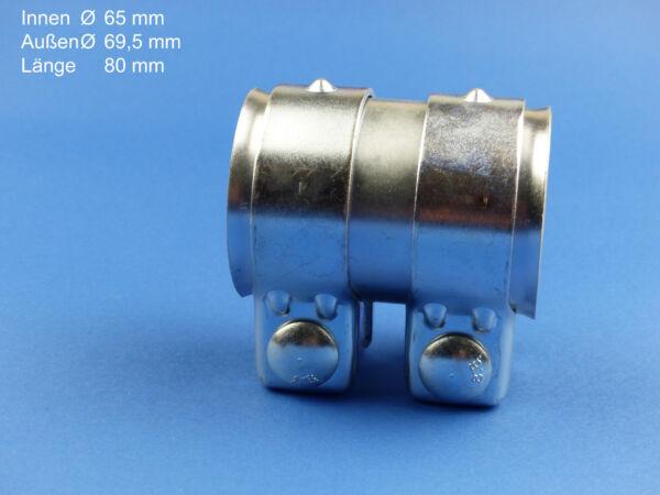 1 St. Auspuff Universal Rohrverbinder 65 X 69,5 X 80mm Doppelschelle Top Neu