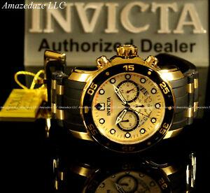 NEW-Invicta-Men18k-Gold-Plated-Scuba-Prodiver-VD53-Chronograph-Golden-Dial-Watch