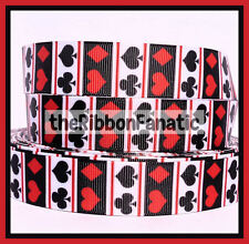 "3 yds 7/8"" Deck of Cards Spade Club Hearts Diamonds Red Black Grosgrain Ribbon"