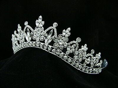 Bridal Pageant Rhinestone Crystal Prom Wedding Silver Crown Tiara 9251