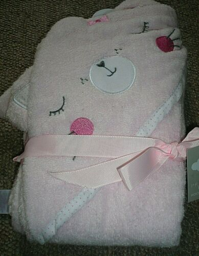 PINK BABY KITTEN Cat Baby Hooded Towel Bath Time BNWT Great gift
