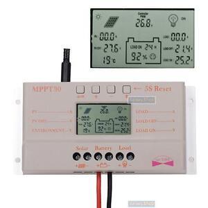 LCD-30A-Solar-Laderegler-Solarregler-12V-24V-MPPT-SOLARPANEL-Timer-mit-USB-KS