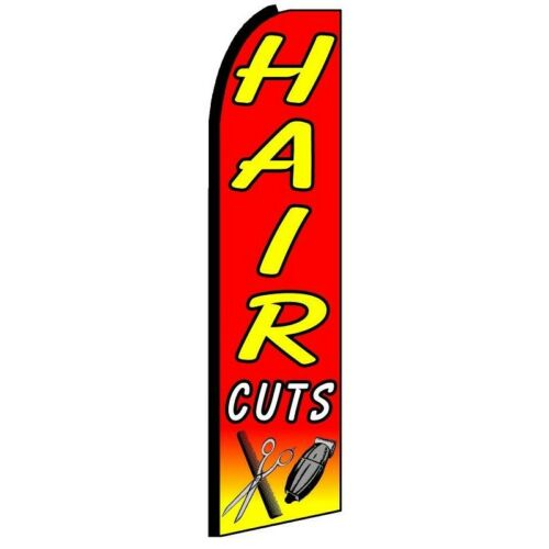 HAIRCUTS Half Curve PREMIUM WIDE Red With Yellow Lettering Swooper Flag Styling