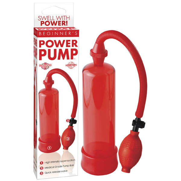 NEW Beginner's Power Penis Pump Red Adult Sex Toy, pipedream Red 7.5 inches