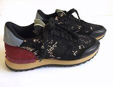Valentino Garavani Rockrunner Lace Sneakers Calfskin Leather Size 7 MSRP $795