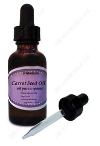 1 oz Carrot Seed Oil Pure Organic Cold Pressed Glass Bottle with Glass Dropper