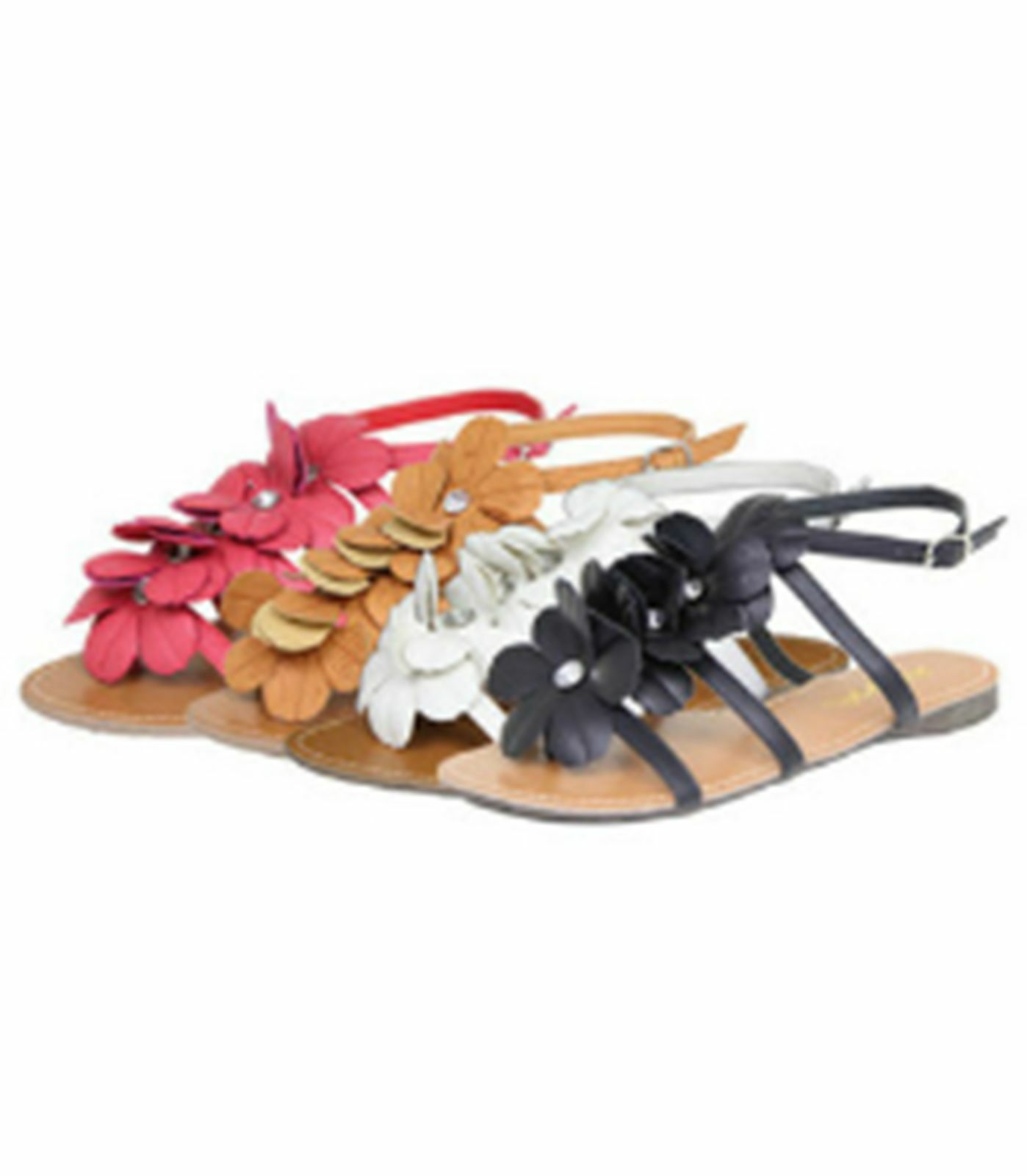 Brand New Bonnie Floral Strappy Thong Flat 6.5-7.5 Sandal Blue or Red 6.5-7.5 Flat Flowers 2568e8