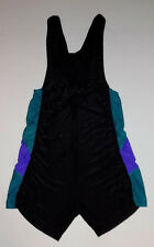 RODEO VTG BLACK TEAL PURPLE NYLON 1 PC STRETCH WRESTLING WEIGHTLIFTING SINGLET M