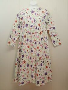 Hanna-Andersson-140-House-Dress-White-Green-Purple-Floral-Girls-10-Long-Modest