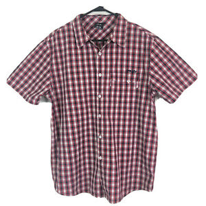Vintage-Oakley-Button-Up-Shirt-Mens-XL-Red-Blue-Check-Short-Sleeve-Cotton-Euc