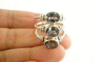 Mystic-Topaz-Trio-3-Stone-Statement-925-Sterling-Silver-Ring-Size-7